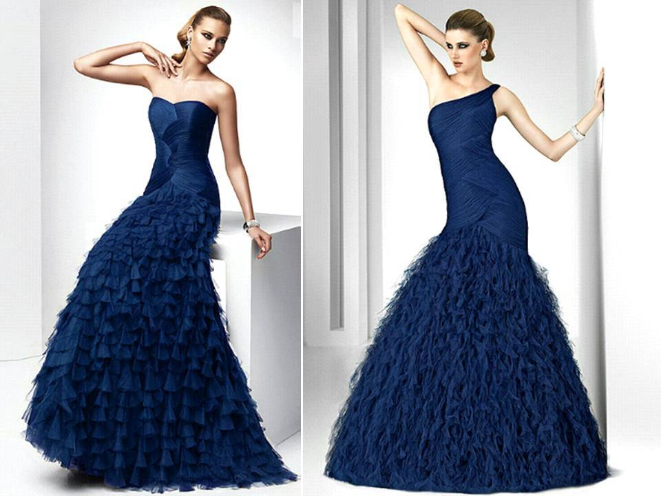 Midnight blue full-length bridesmaids dresses with embellished skirts by Pronovias