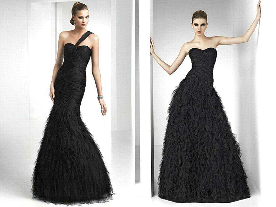 Elegant-black-bridesmaids-dresses-full-length-textured-feather-skirt-downtown-chic-wedding-reception.full