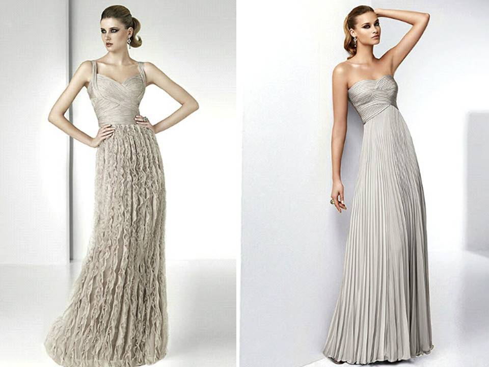 Chic champagne Pronovias wedding dresses with sweetheart neckline and on-trend feather applique