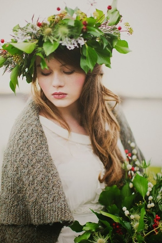 Winter greenery bridal headpiece