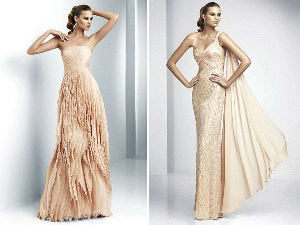 Blush pink full-length Pronovias wedding dresses with texture and ...