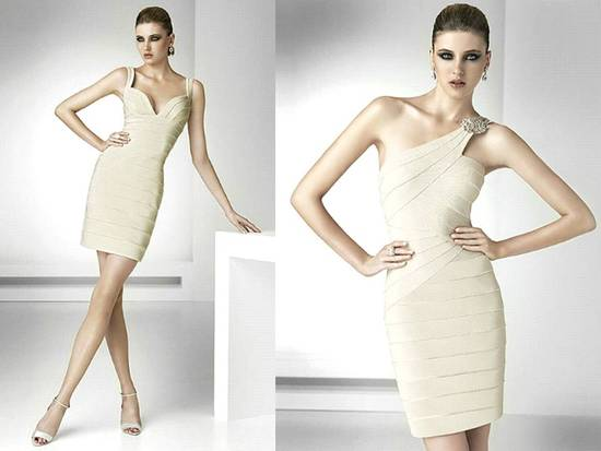 Herve Leger-inspired ivory bandage dresses for wedding reception style by Pronovias