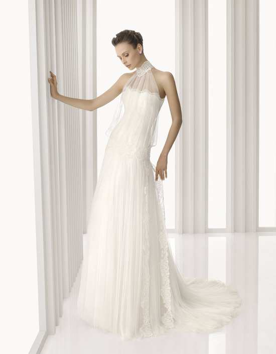 Romantic drop-waist sheath wedding dress with sheer lace turtle neck neckline