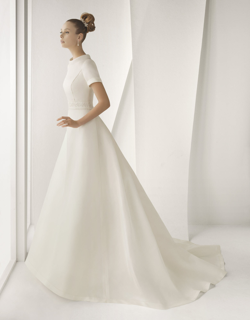 Modest ivory silk mikado rosa clara wedding dress with for Short ivory wedding dress