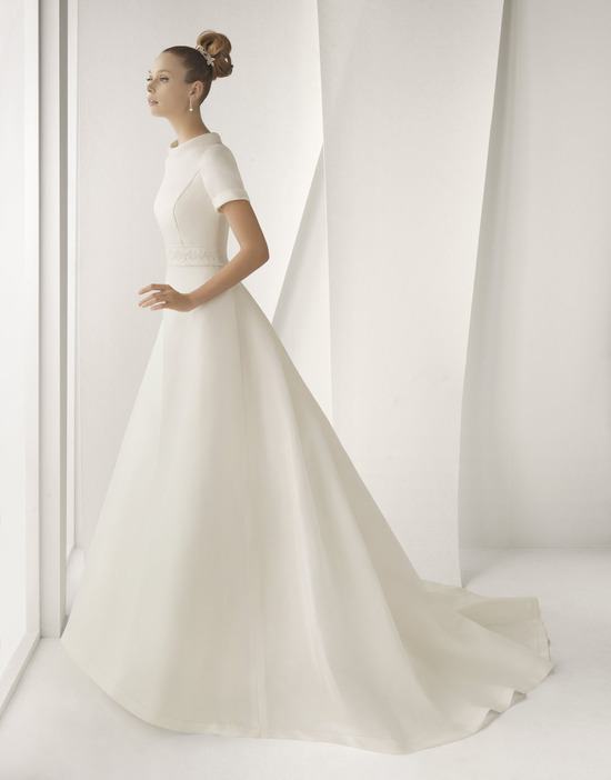 Modest ivory silk mikado Rosa Clara wedding dress with short sleeves and high bateau neck