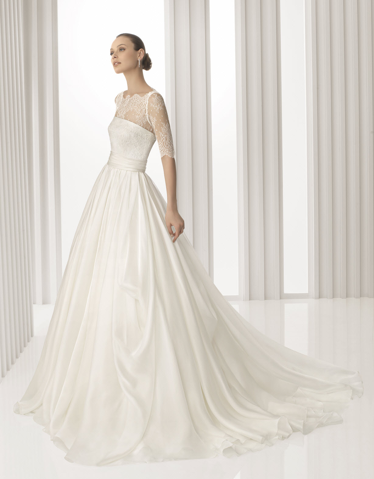Kate middleton inspired spring 2012 rosa clara wedding for Sheer lace wedding dress