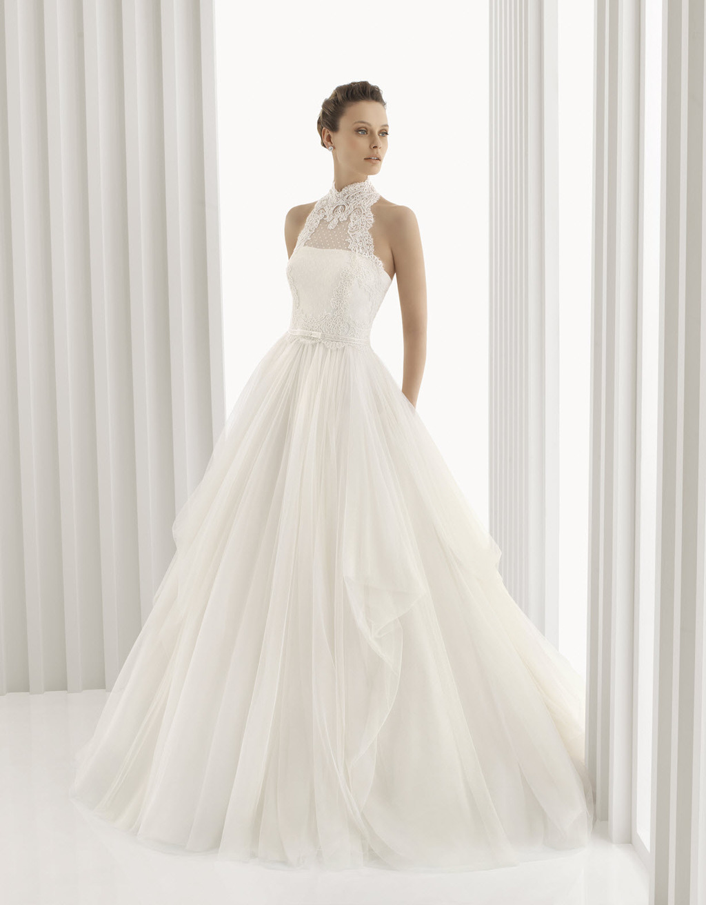 romantic full a line rosa clara bridal gown with high neck
