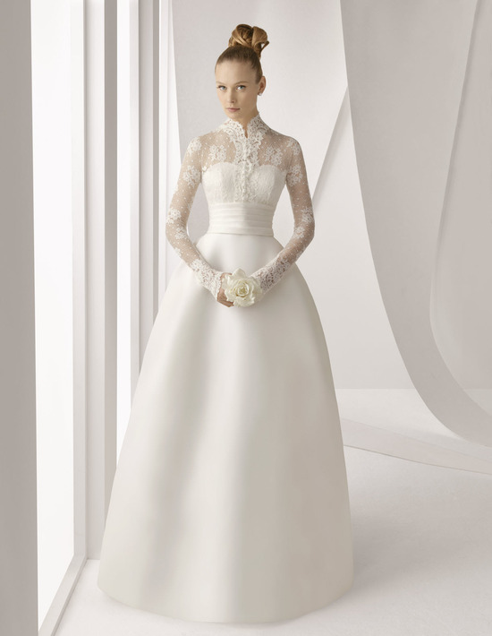 Spring 2012 Rosa Clara bridal gown with princess silhouette and long lace sleeves over sweetheart ne