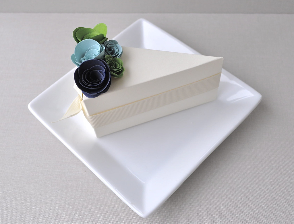 chic ivory wedding guest favor boxes shaped like a slice of wedding cake adorned with blue and gree. Black Bedroom Furniture Sets. Home Design Ideas