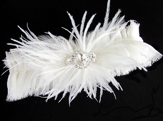 photo of Lila couture silk chiffon wedding garter by Belles and Crystals