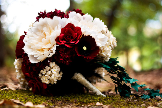 Elegant and unique paper flower bridal bouquet in ivory and crimson