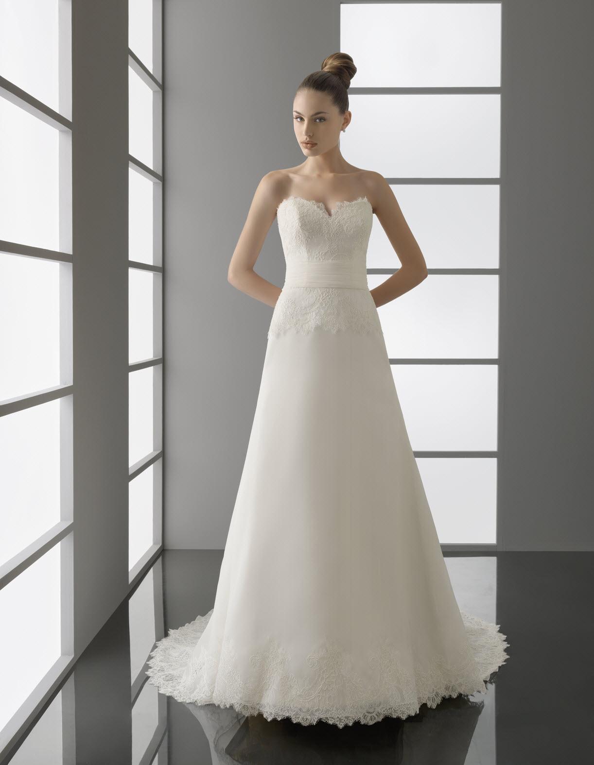 Wedding Dresses Modified A Line : Romantic ivory lace strapless modified a line wedding dress with