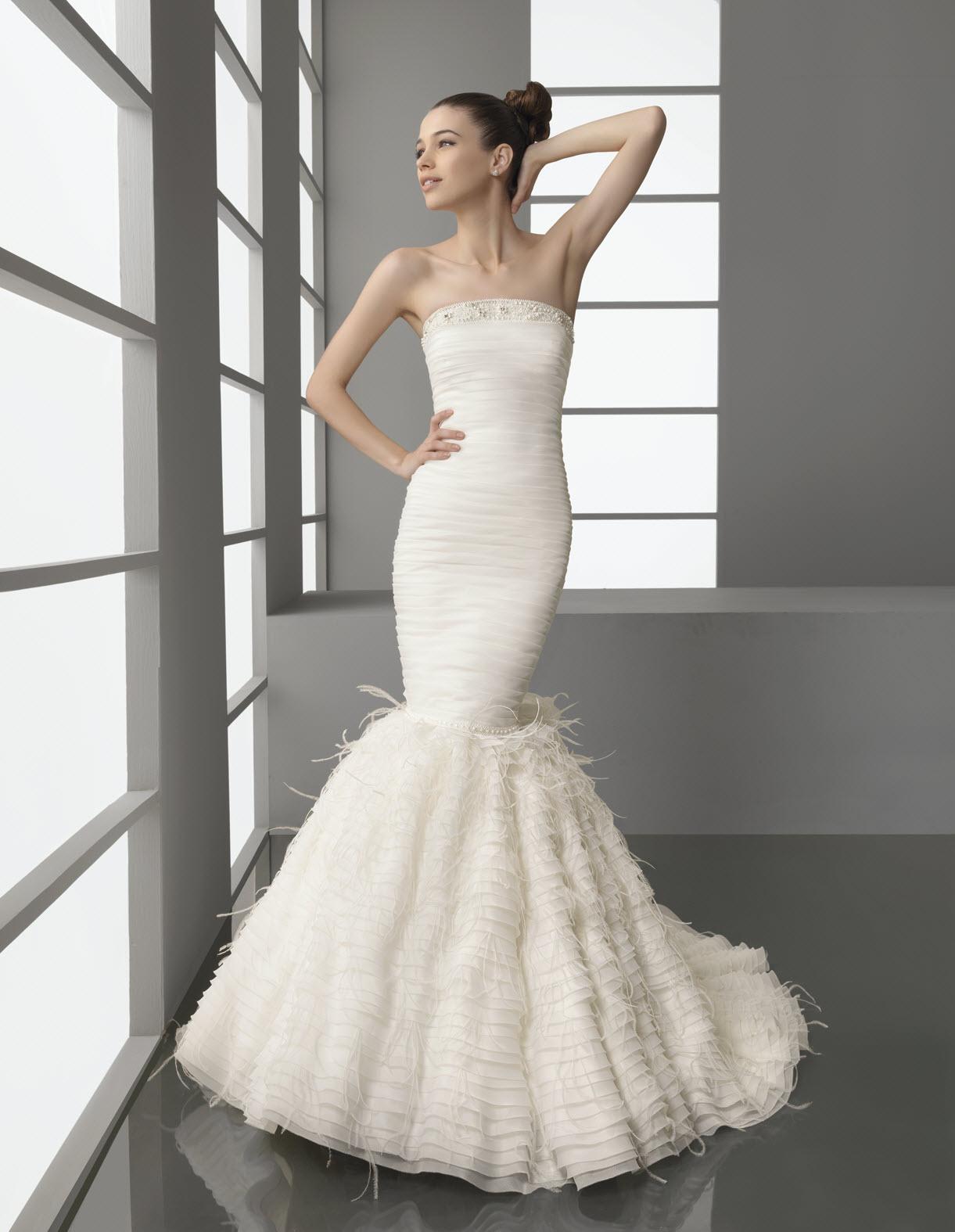 Trumpet Bottom Wedding Dresses : Mermaid wedding dress with feather adorned trumpet skirt onewed