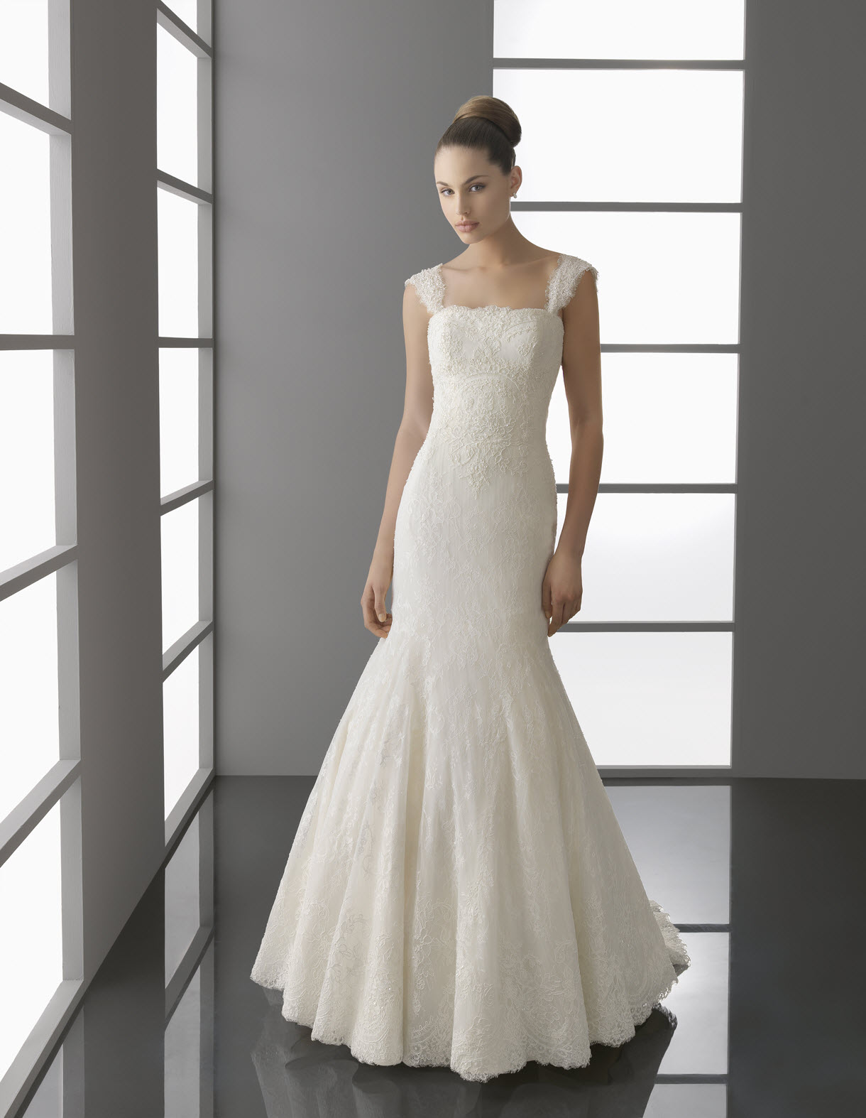 Ivory lace mermaid wedding dress with drop waist and cap