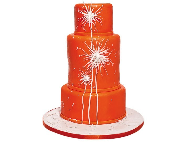 Modern-orange-wedding-cake-with-firework-design.full