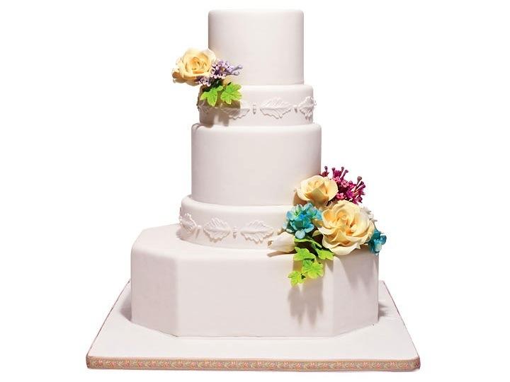 Traditional Wedding Cake White Adorned With Fresh
