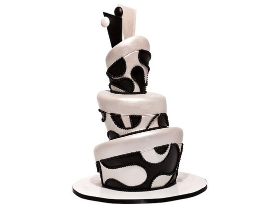 Black and white Mad Hatter-inspired wedding cake