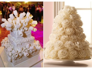 photo of Elegant ivory textured wedding cakes by Sylvia Weinstock