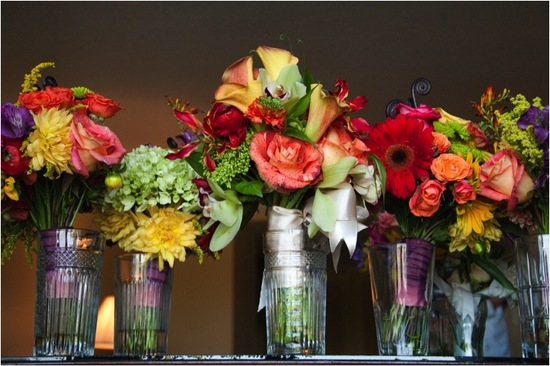 Colorful wedding flowers (bride and bridesmaids bouquets) at outdoor Alabama wedding