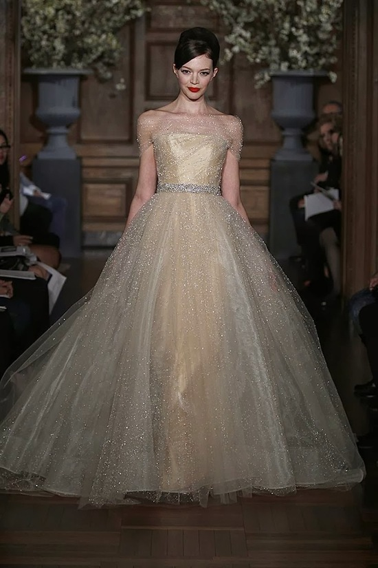 Champagne ball gown wedding dress by Romona Keveza Couture