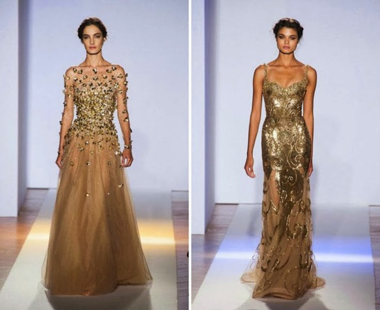 Gold glittery wedding gowns by Zuhair Murad