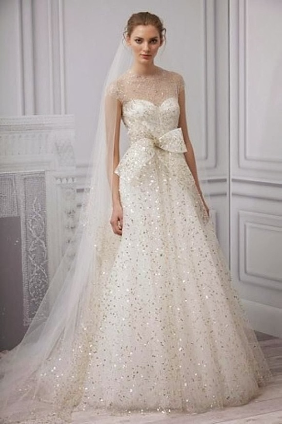 Sparkly wedding dress by Monique Lhuillier