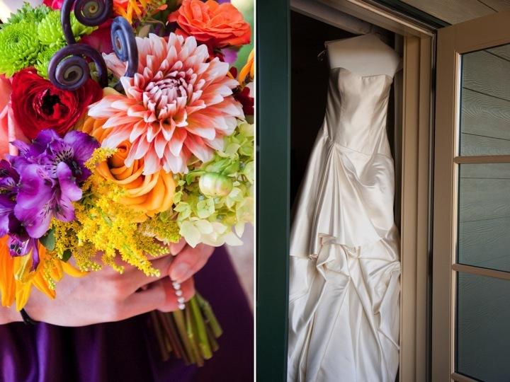 Colorful-bridal-bouquet-purple-bridesmaids-dresses-ivory-bridal-gown.full