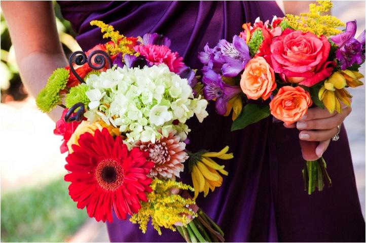 Purple Flowers For October Wedding : Outdoor alabama wedding bridesmaids wear purple dresses