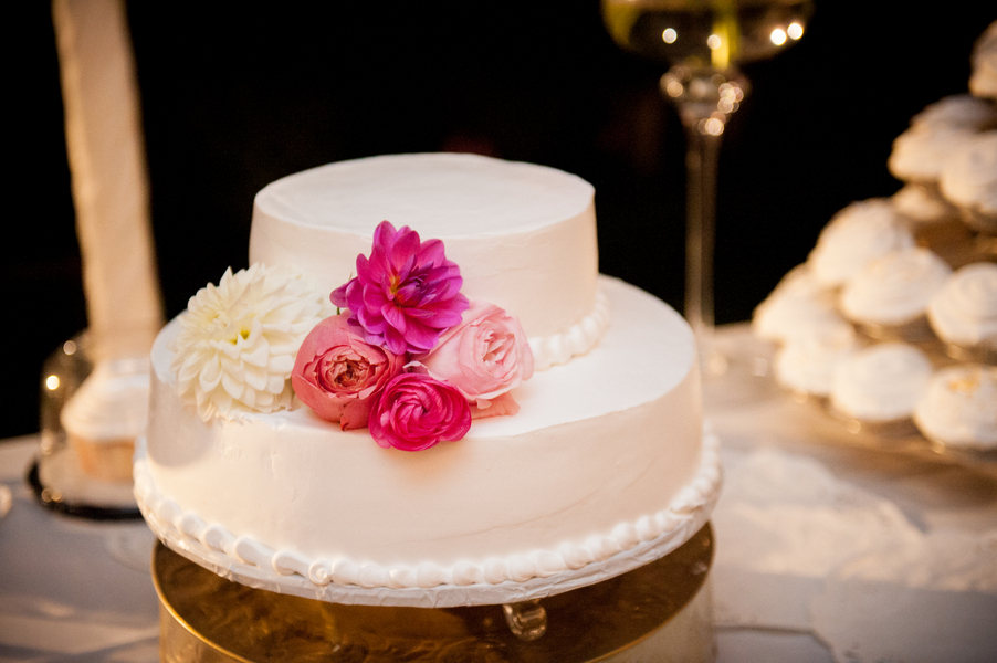 Low two tiered wedding cake