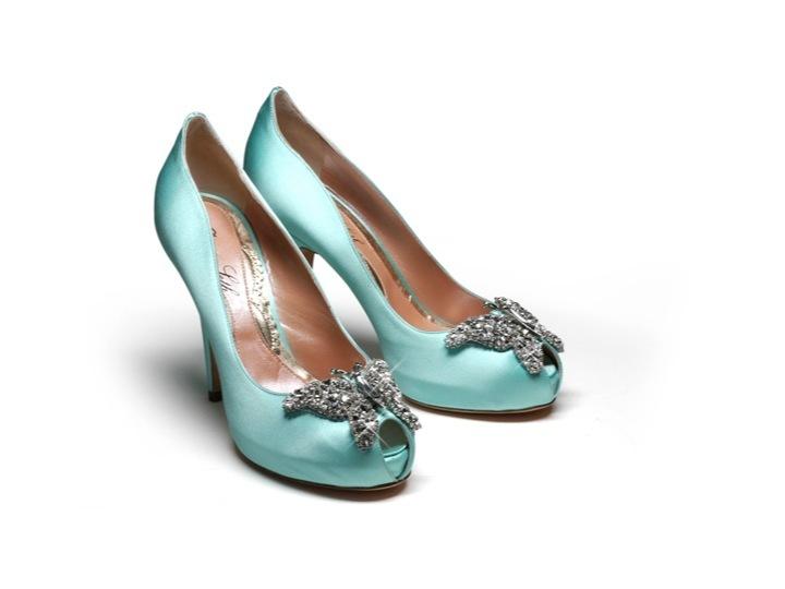 Tiffany blue satin peep toe bridal heels with butterfly brooch chic tiffany blue satin peep toe bridal heels with butterfly brooch junglespirit Gallery