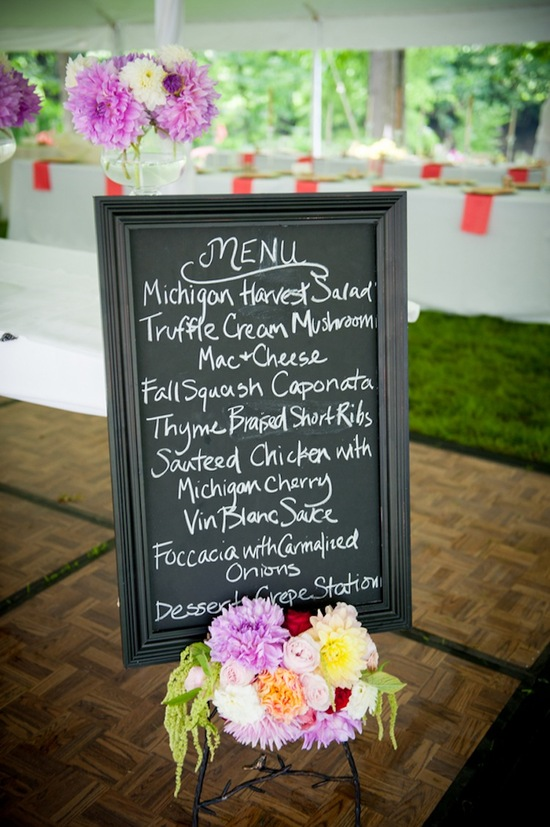 Chalkboard menu sign for reception