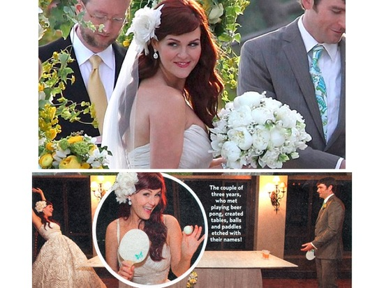 photo of Sara Rue Says I Do: Amsale Wedding Dress, Makeup by TEMPTU