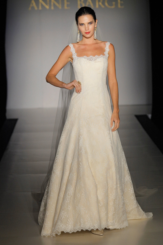 All-lace ivory a-line wedding dress with square neckline from Anne Barge Fall 2011 collection