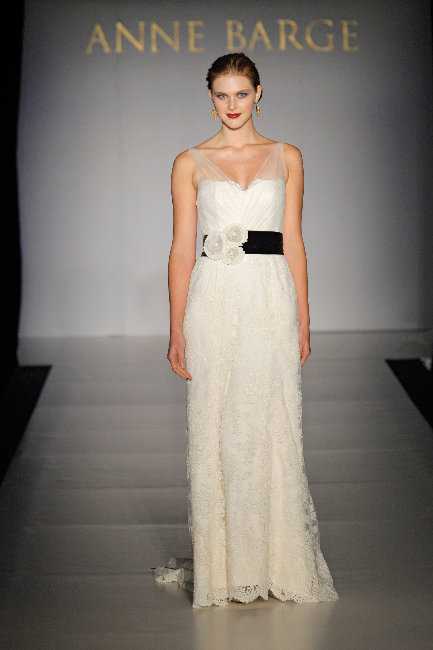 ivory lace column wedding dress with sheer