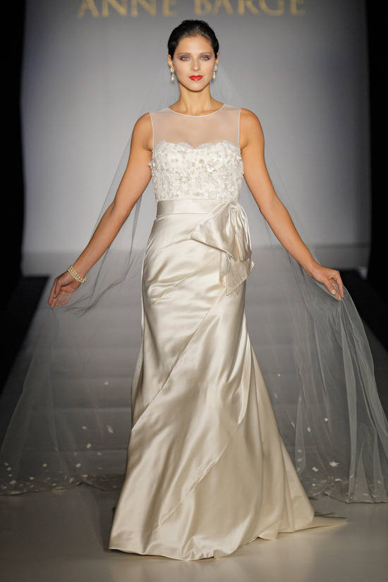 Bateau neck ivory silk mermaid wedding dress with romantic illusion fabric neckline