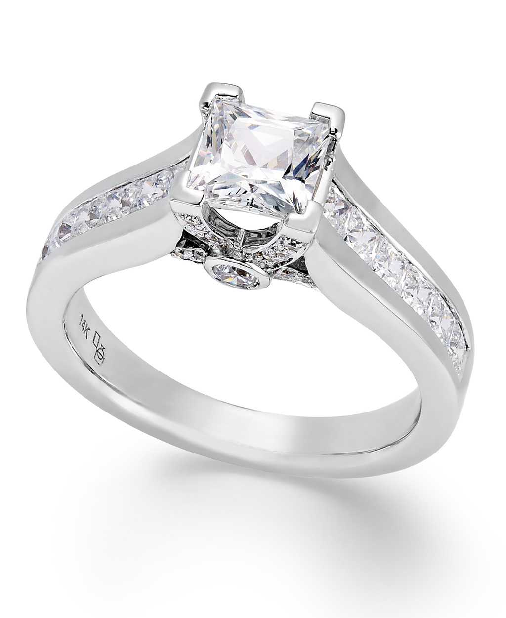 White Gold Multiple Stones Engagement Ring ISR4733CH
