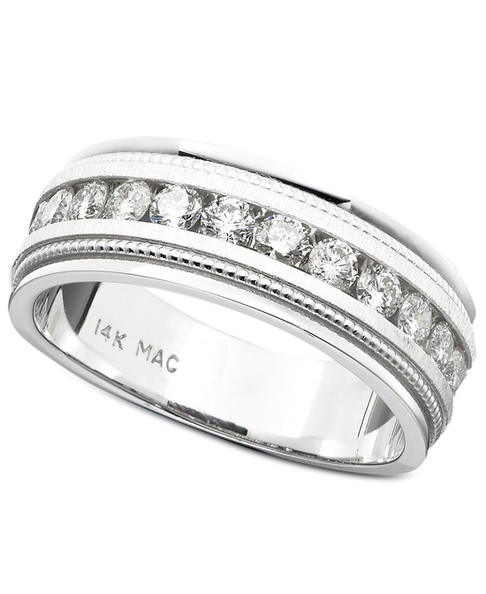 White Gold Milgrain Edging Wedding Ring UGOC7819NAW