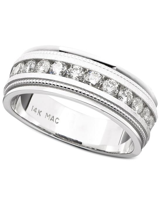 photo of White Gold Milgrain Edging Wedding Ring UGOC7819NAW