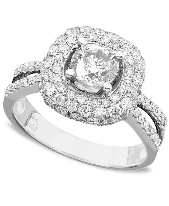 White Gold Multiple Stones Engagement Ring ISR1868TC