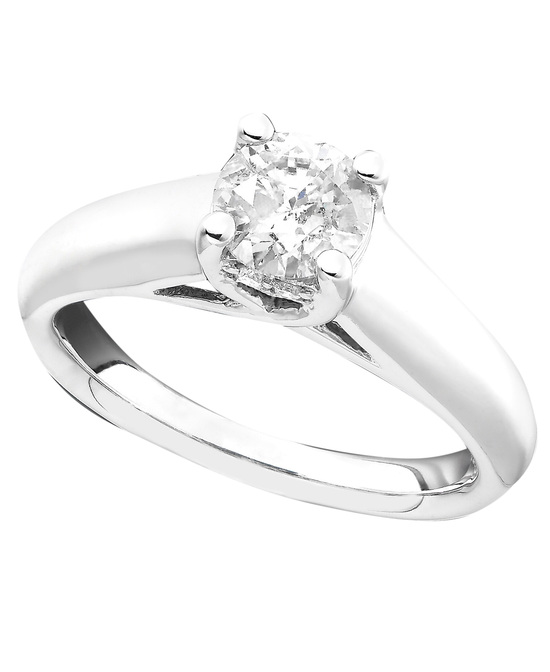 White Gold Solitaire Engagement Ring MRW090