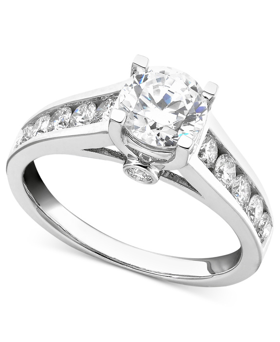 white gold multiple stones engagement ring - Macy Wedding Rings