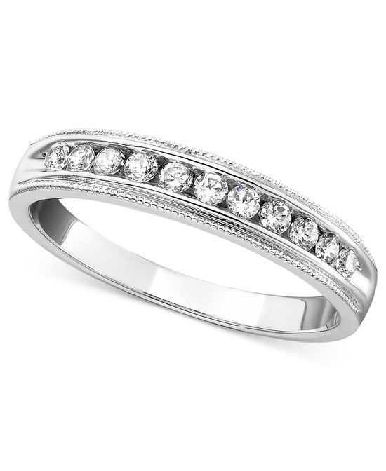 photo of White Gold Milgrain Edging Wedding Ring MGCB25W