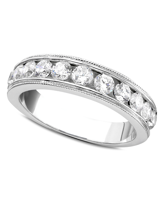 photo of White Gold Milgrain Edging Wedding Ring MGCB100W