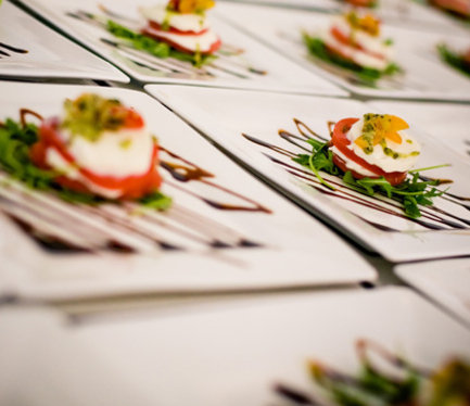 Plated Tomato and Mozz Salads