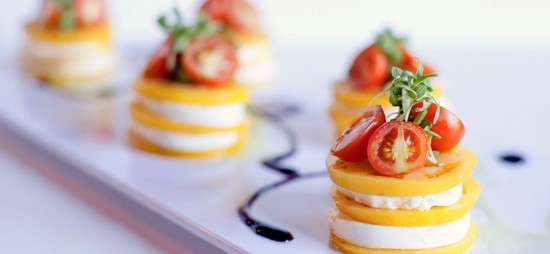 Yellow Tomato and Mozzarella Stacks with Balsamic