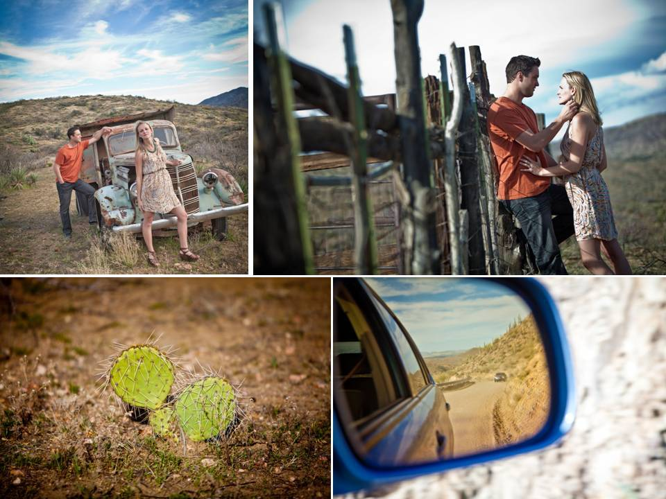 Outdoor casual engagement session in Arizona desert with sprawling mountains in background