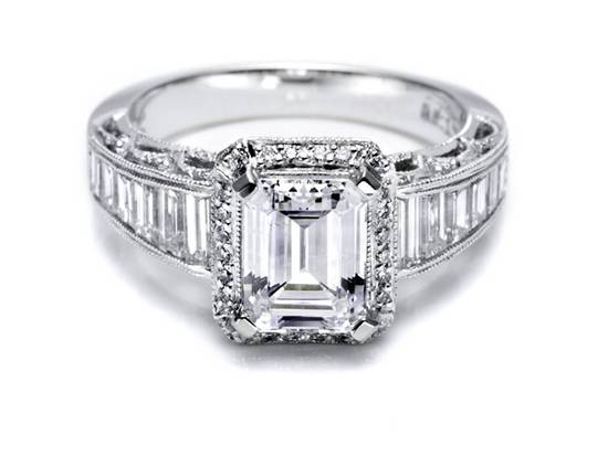 Tacori engagement ring like KIm Kardashian's 20.5 carat emerald cut stunner