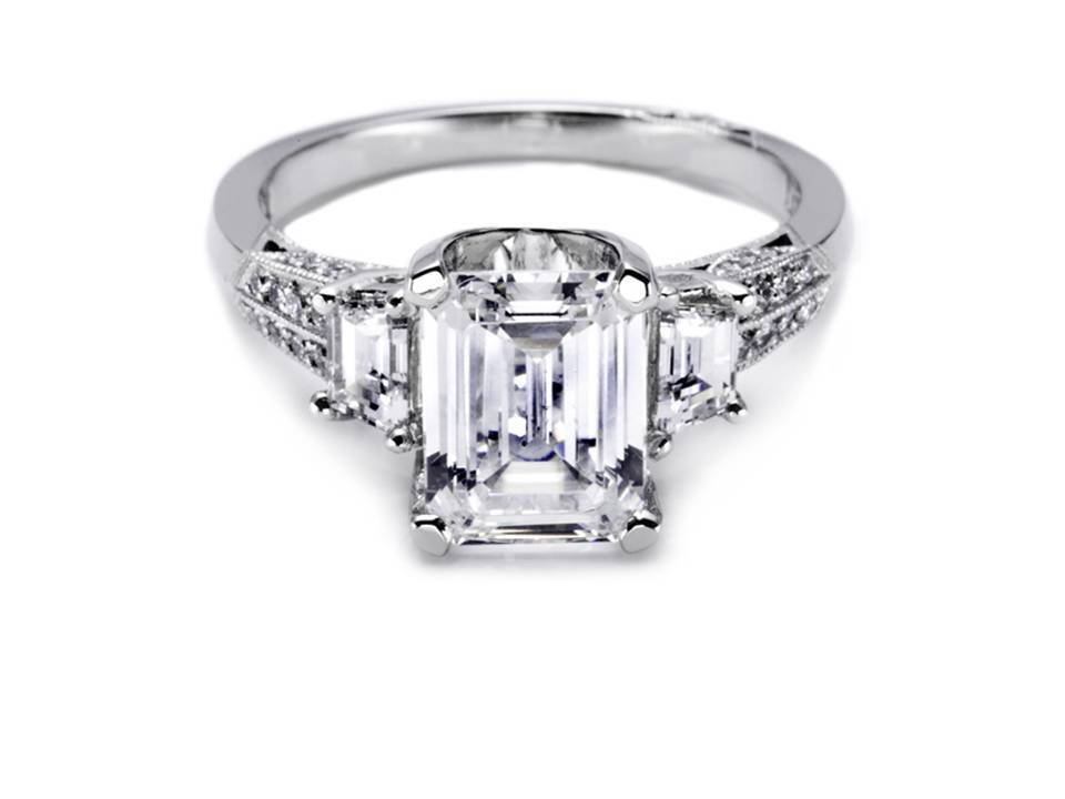 emerald cut platinum and tacori engagement ring