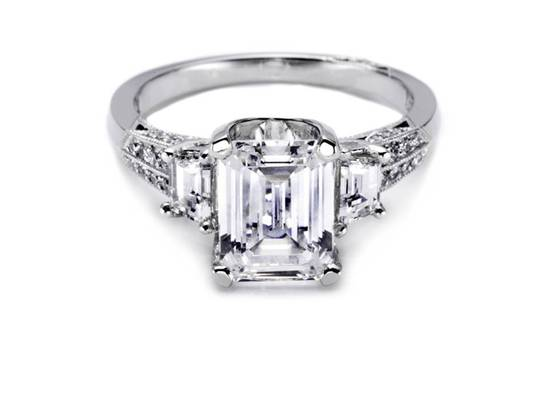 Emerald cut platinum and diamond Tacori engagement ring with side stones