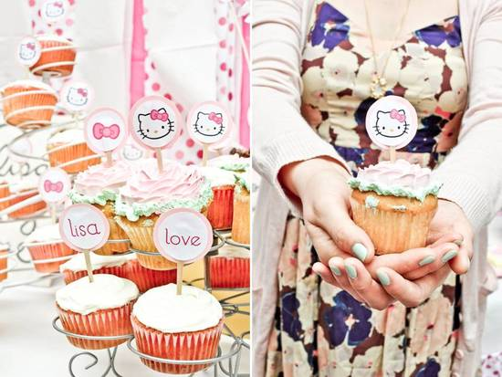 Delicious and festive cupcakes at Hello Kitty themed bridal shower at outdoor venue in California